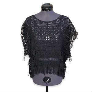 BCBGMaxAzria Black Fringe Crochet Boxy Cover Up